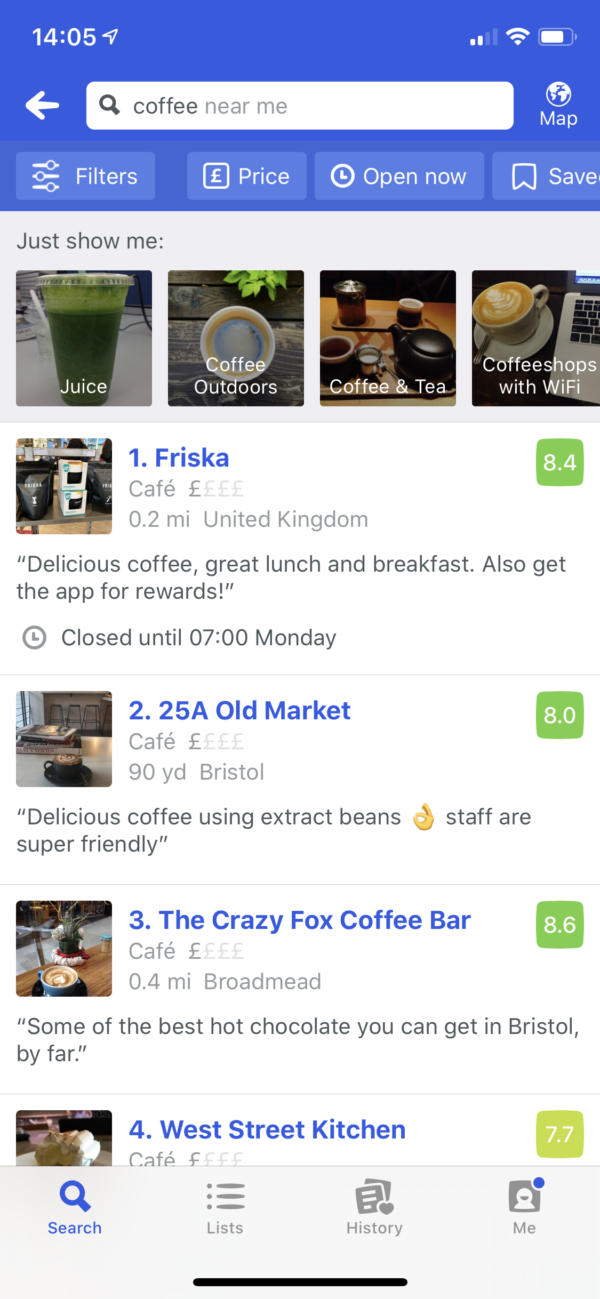 Foursquare Search results screenshot