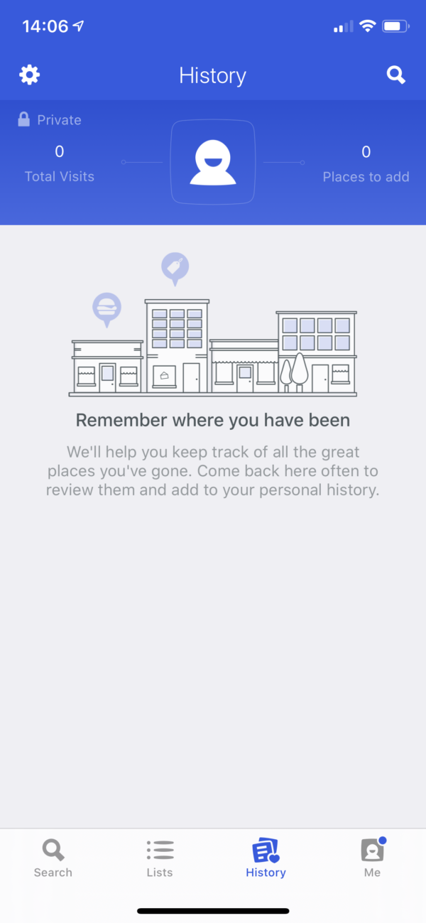 Foursquare Empty state screenshot
