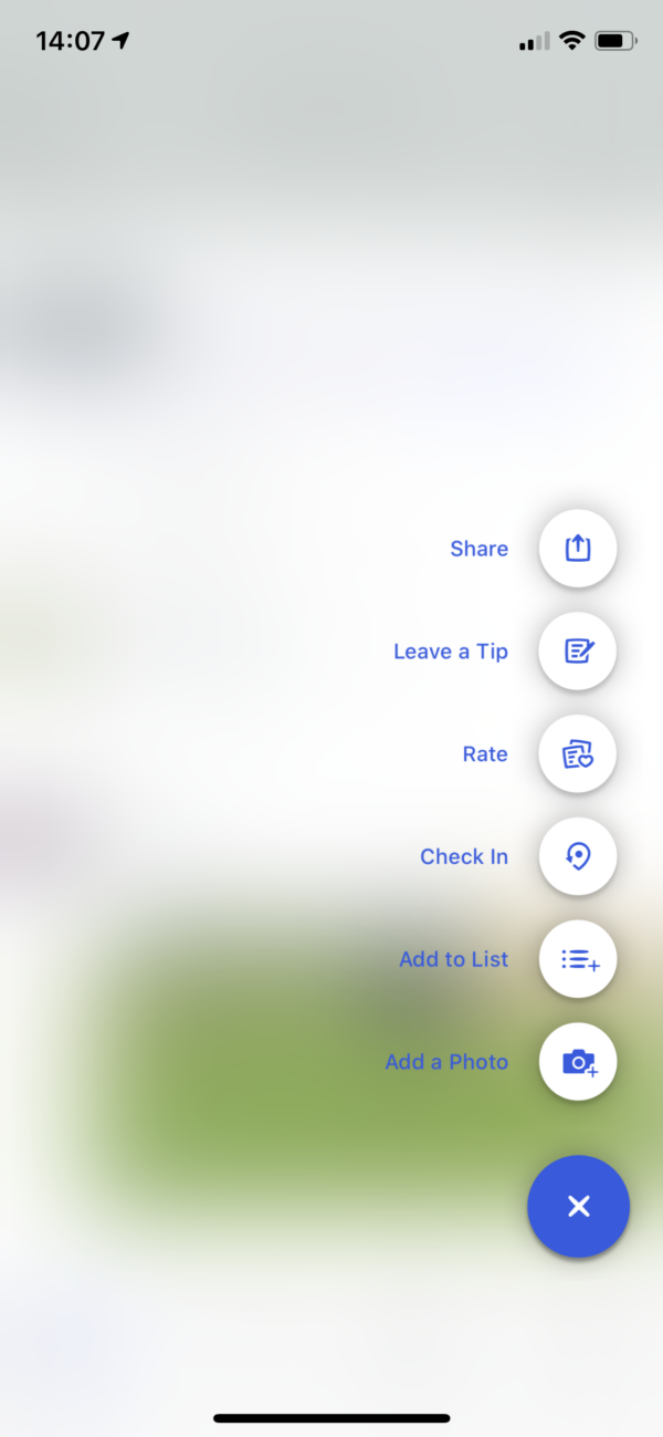 Foursquare Action menu screenshot