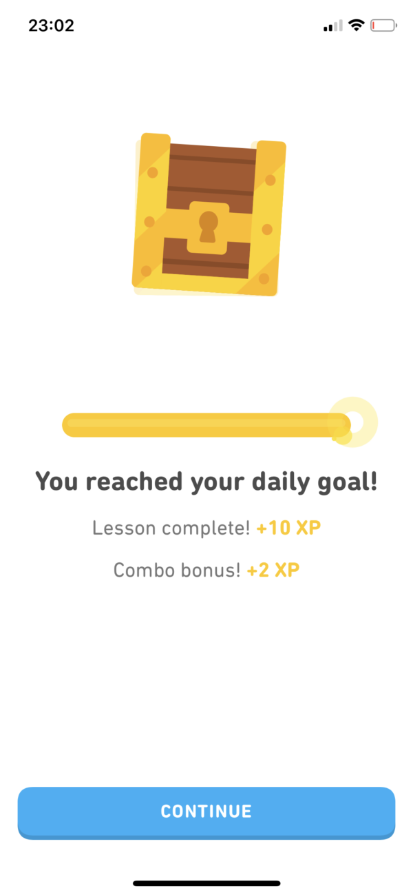 Duolingo Goal reached screenshot