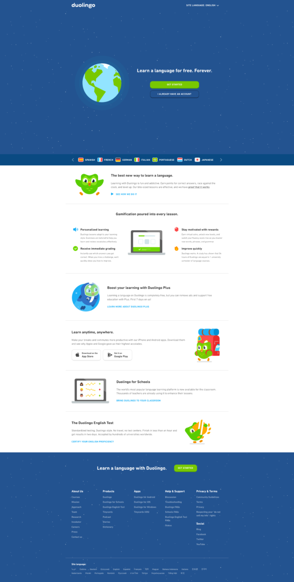 Duolingo Homepage screenshot