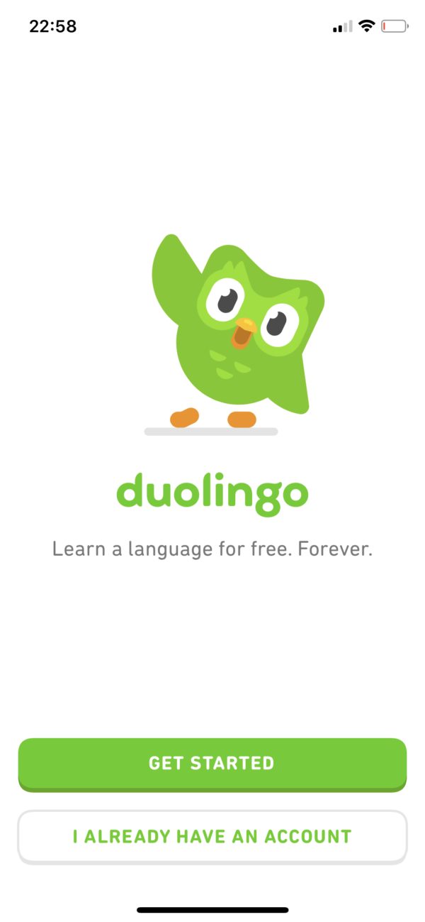 Duolingo Login or register screenshot