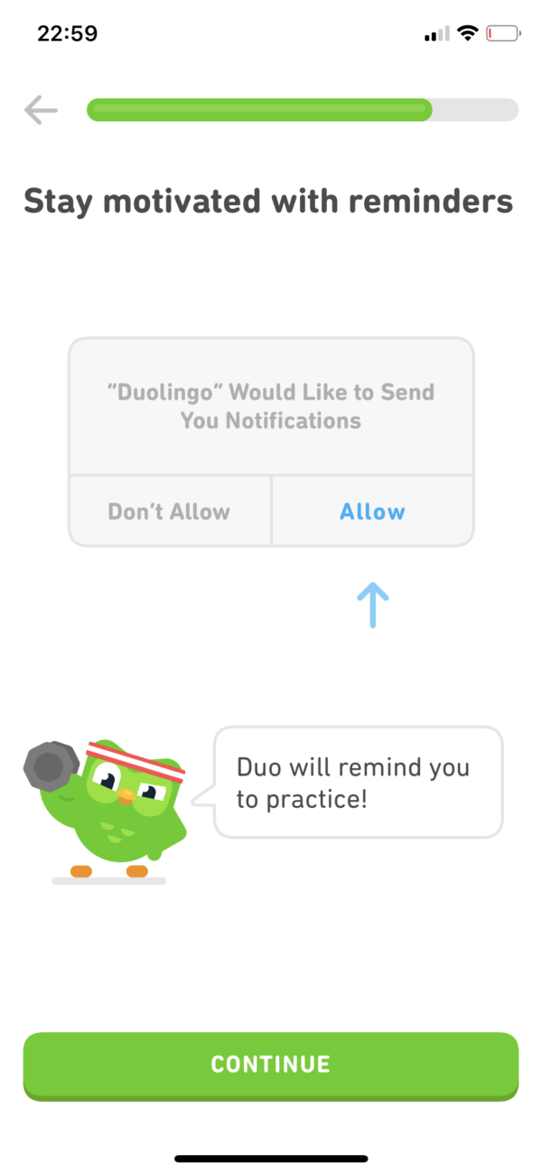 Duolingo Notification permissions prompt screenshot