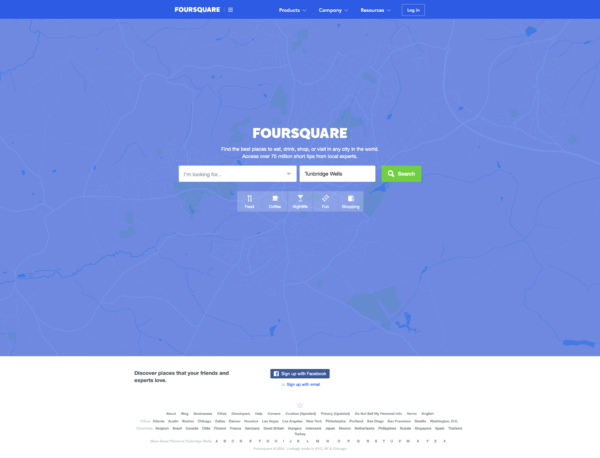 Foursquare Homepage screenshot