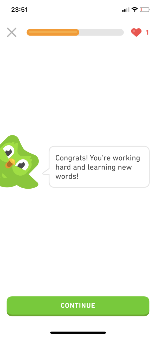 Duolingo Positive reinforcement screenshot