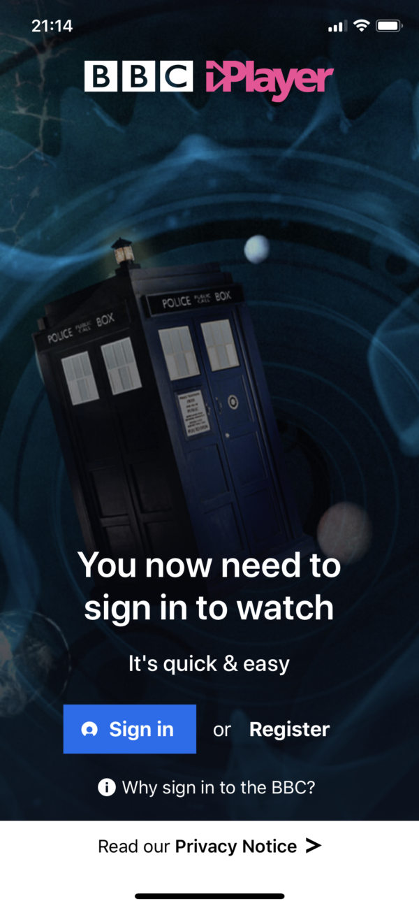 BBC iPlayer Sign in to watch screenshot