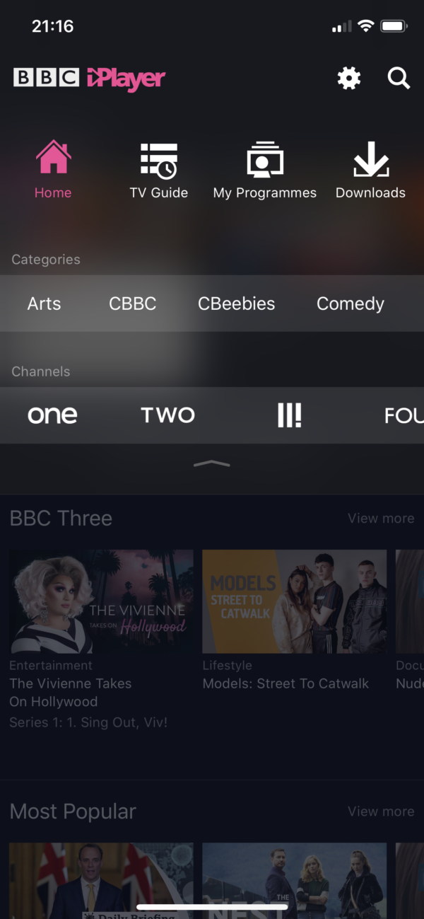 BBC iPlayer Main menu screenshot