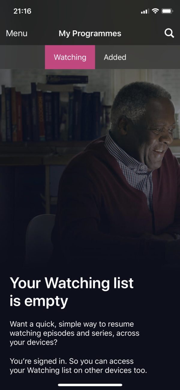 BBC iPlayer Empty watch list screenshot