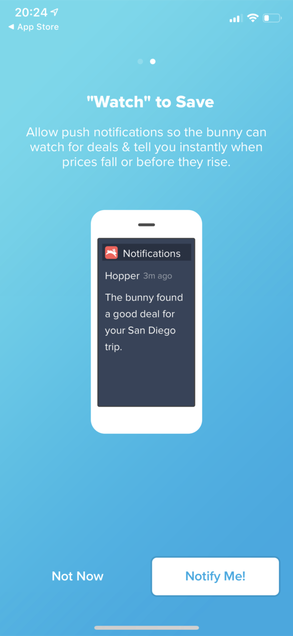 Hopper Notification prompt screenshot