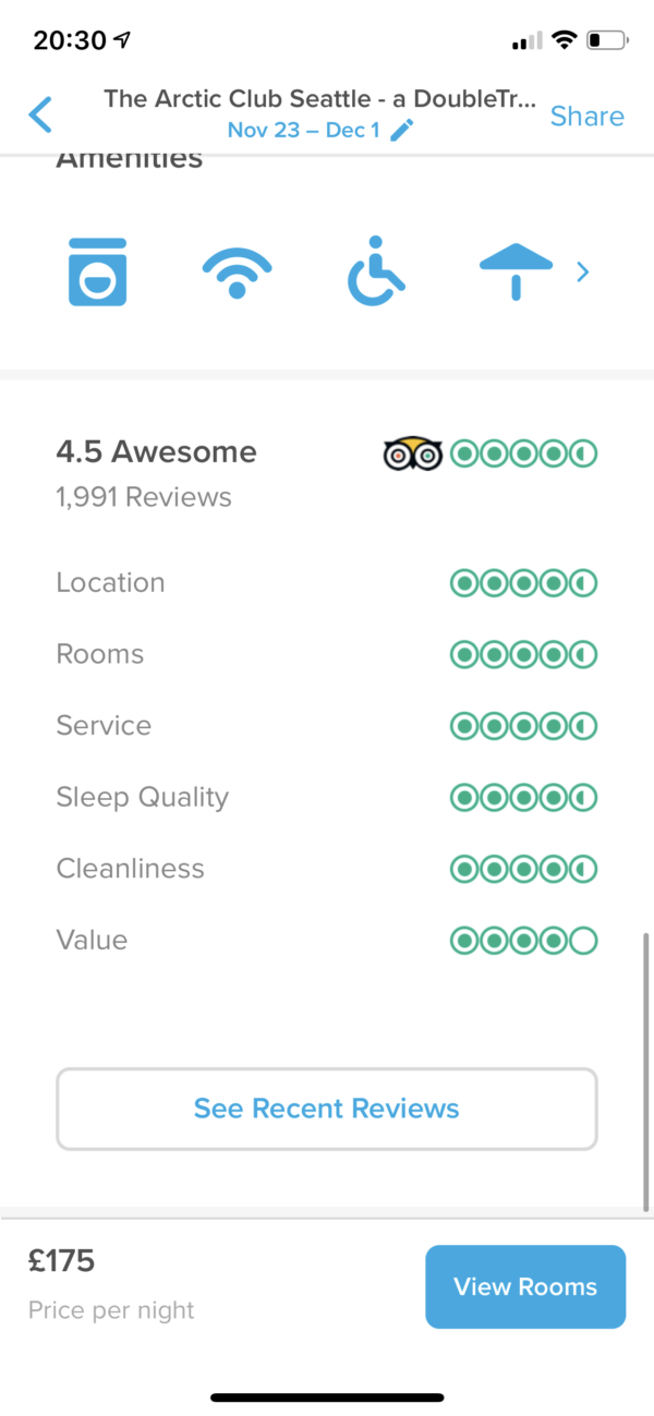 Hopper Hotel ratings screenshot