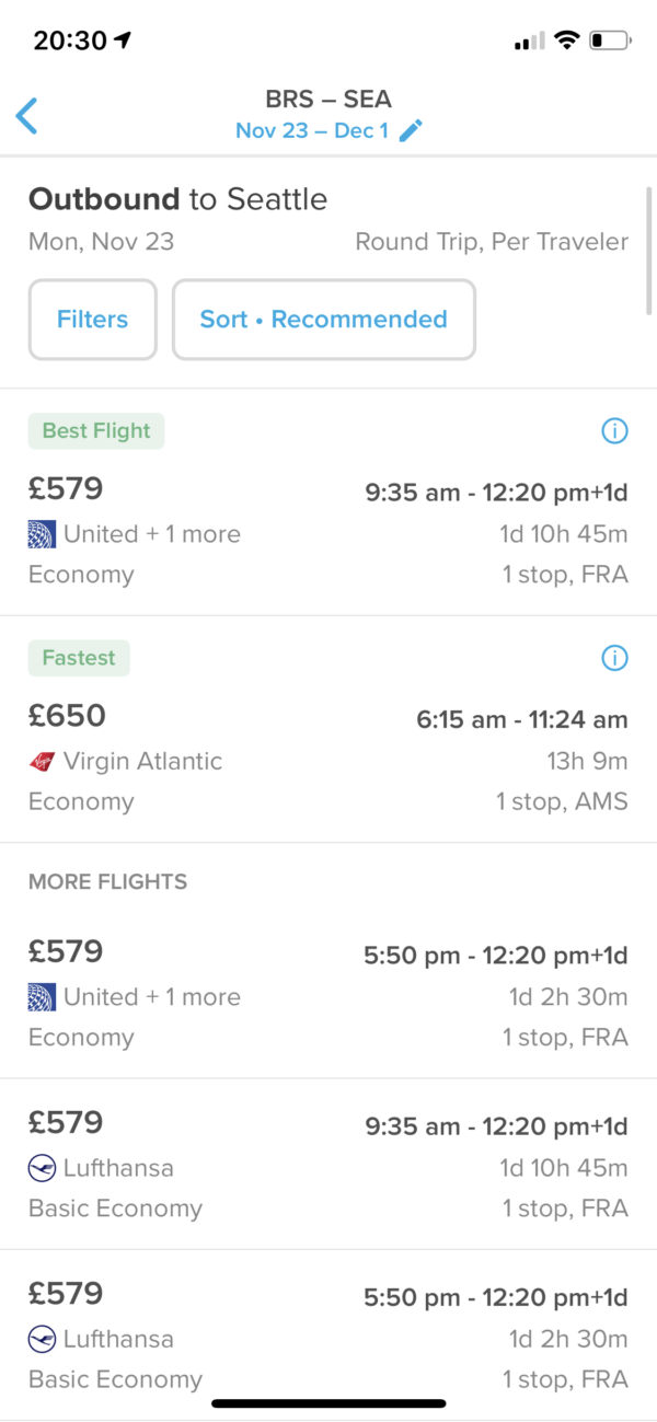 Hopper Flight list screenshot