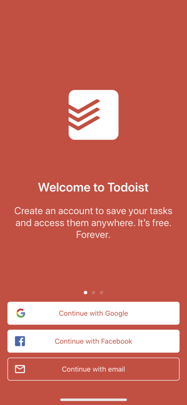 Todoist Welcome / Sign in screenshot