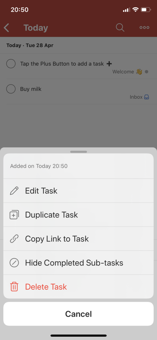 Todoist Context menu screenshot