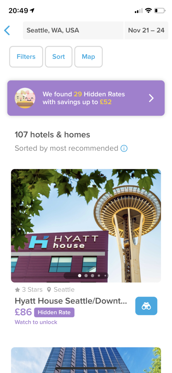 Hopper Hotel search results screenshot
