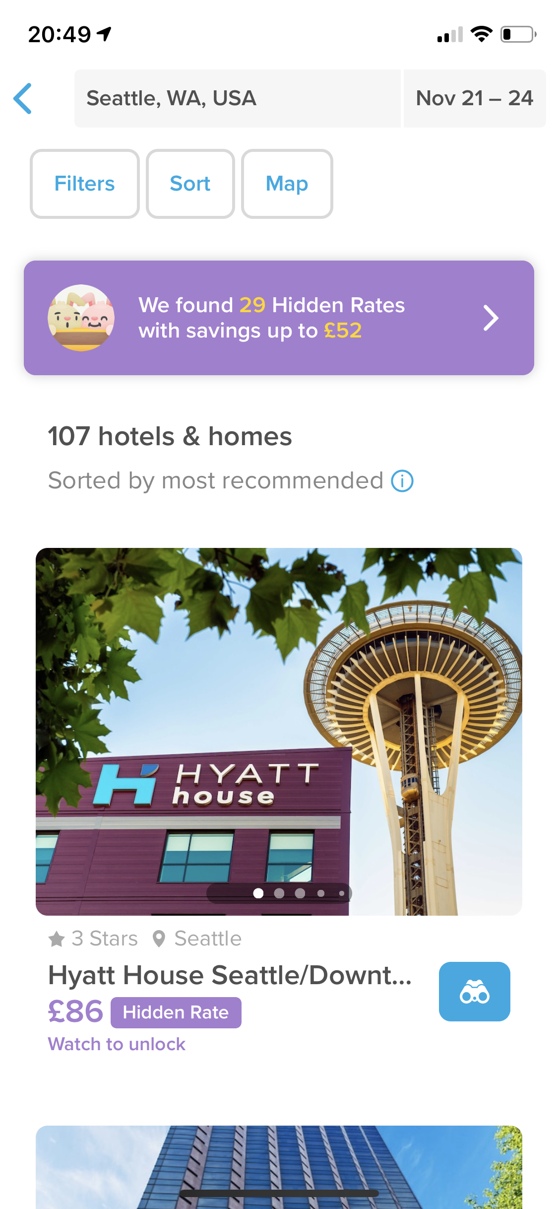 Hotel search results screenshot