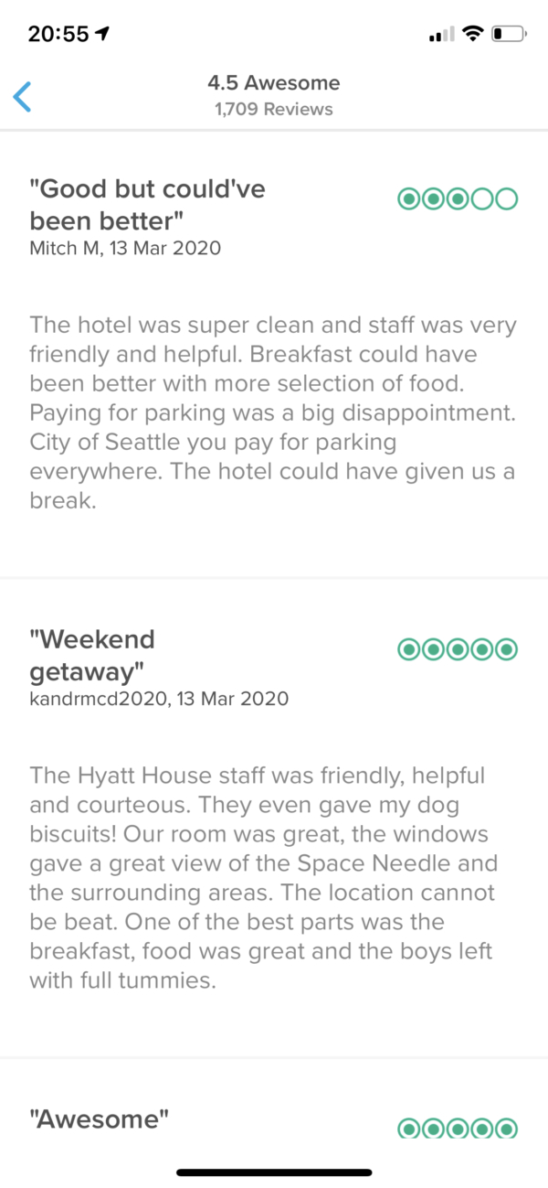 Hopper Recent hotel reviews screenshot