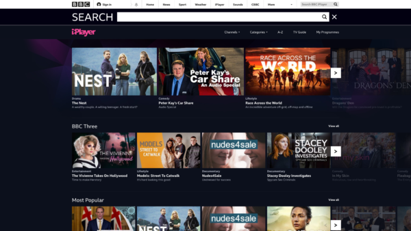 BBC iPlayer Search screenshot