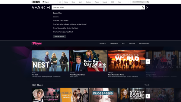 BBC iPlayer Search results screenshot