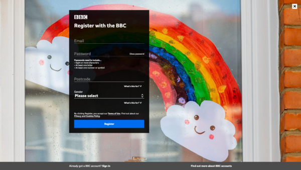 BBC iPlayer Register screenshot