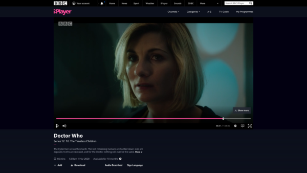 BBC iPlayer Video player screenshot