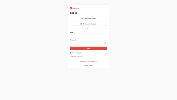 Todoist Log in screenshot