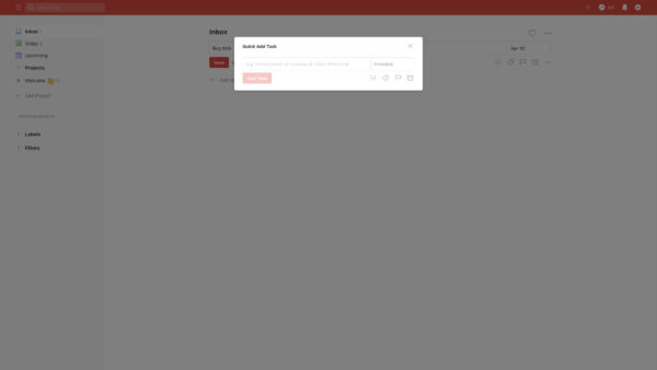 Todoist Add task screenshot