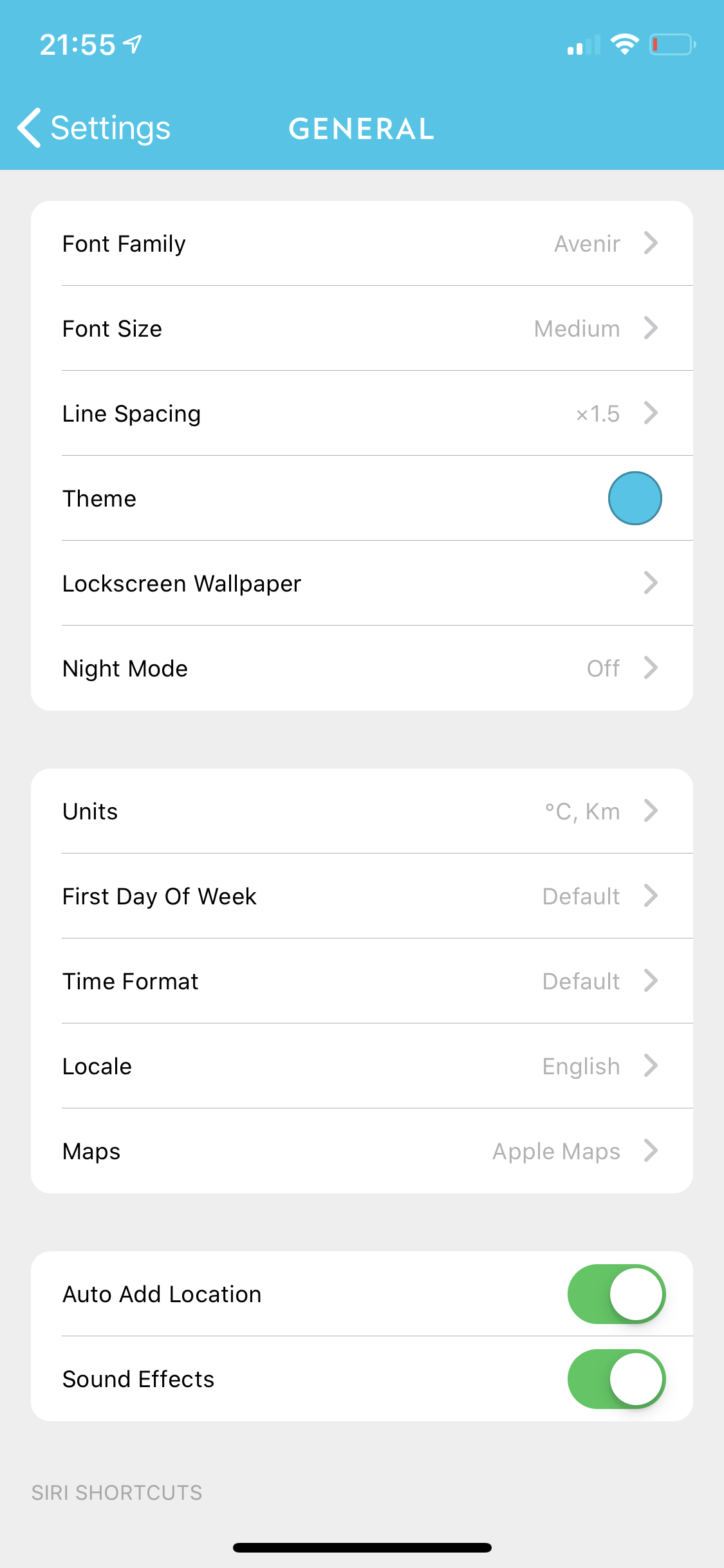 General settings screenshot