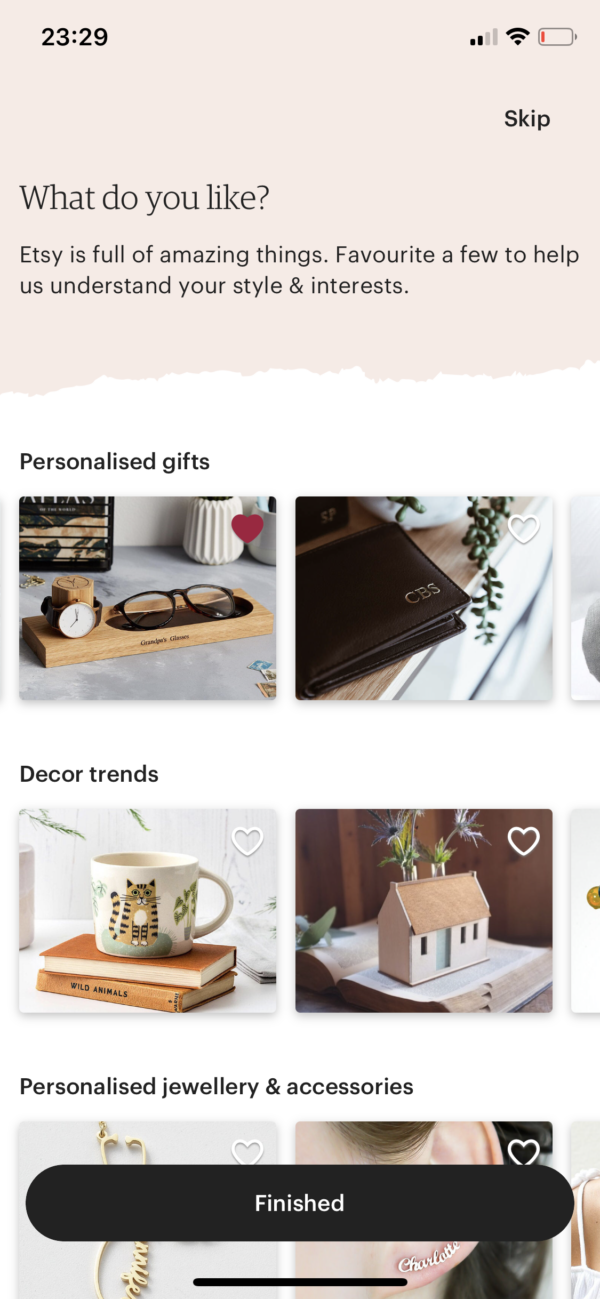 Etsy What do you like? screenshot