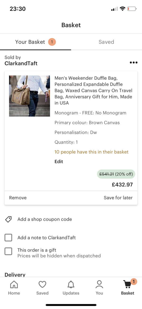 Etsy Basket screenshot