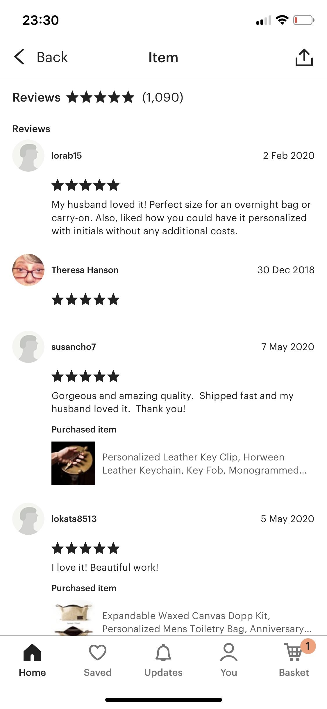 Product reviews screenshot