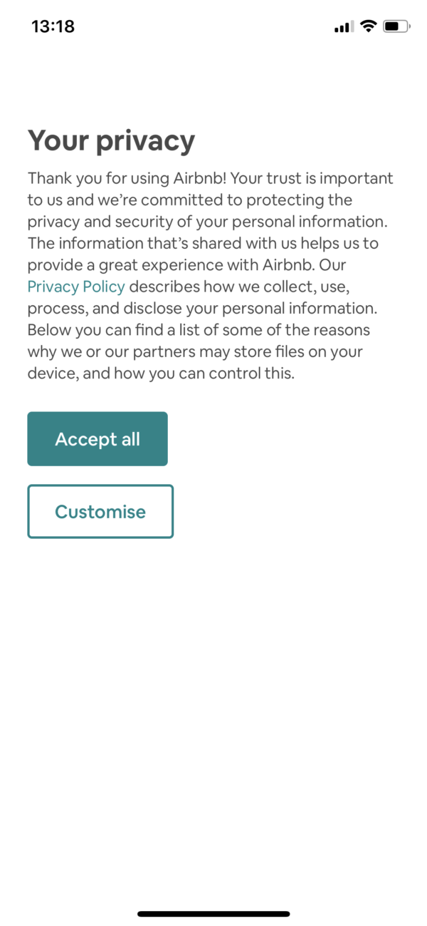 Airbnb Your privacy screenshot