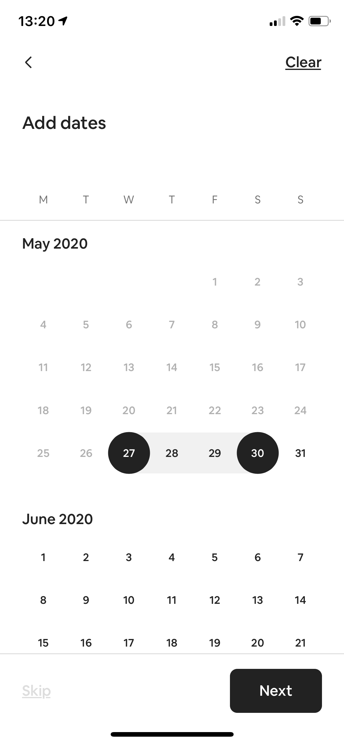 Add dates screenshot
