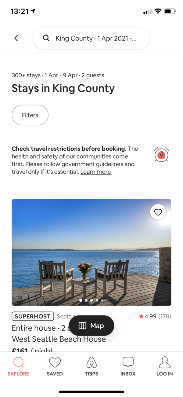 Airbnb Search results screenshot