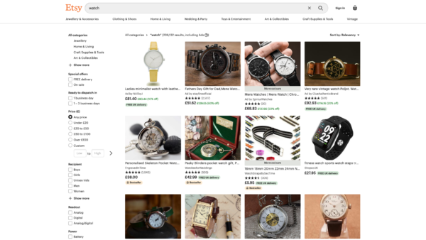 Etsy Search results screenshot