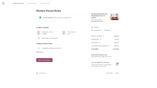 Airbnb Reservation summary screenshot