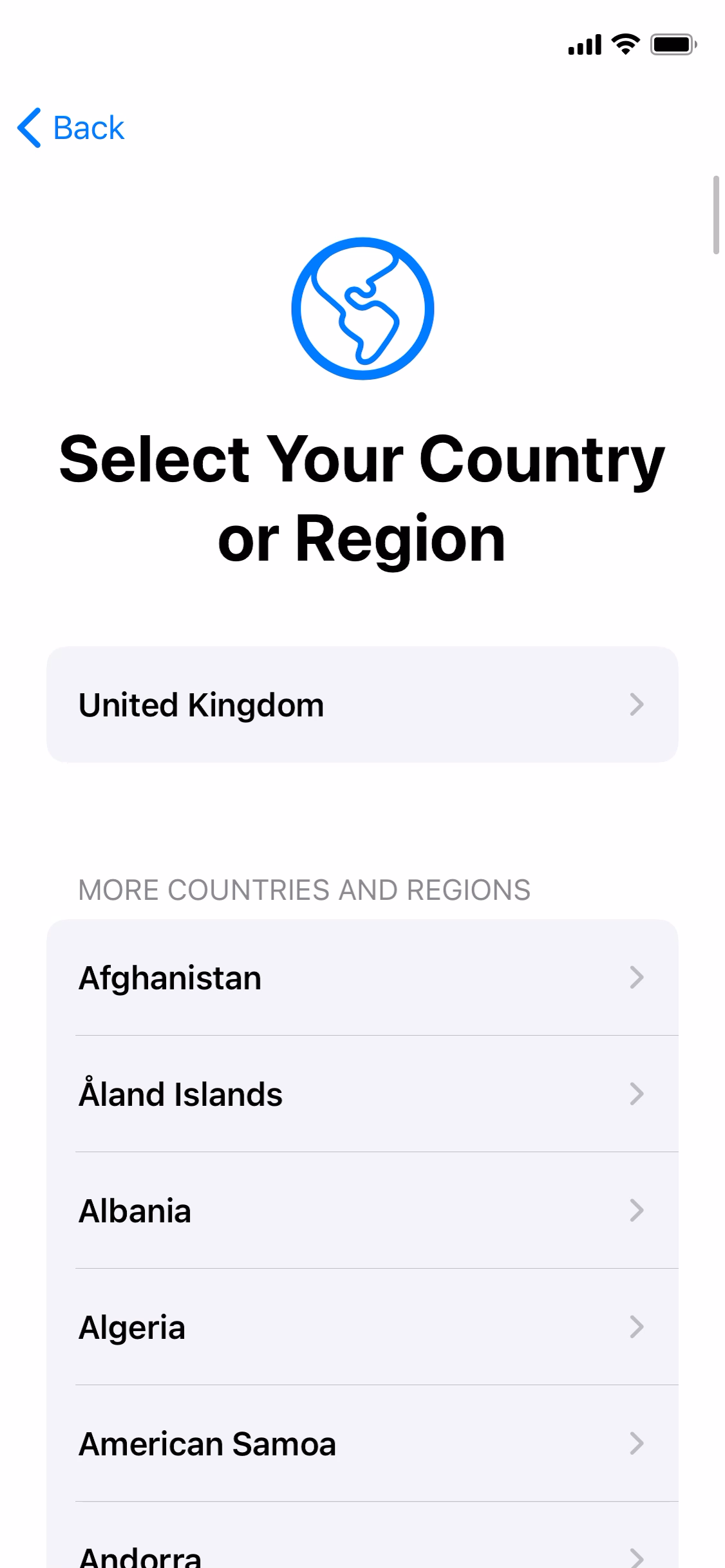 Country or region picker screenshot