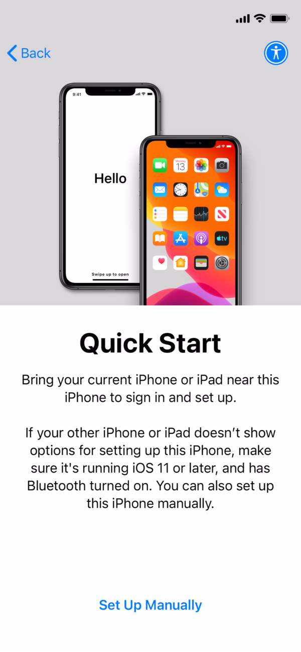 iOS 14 Quick start screenshot