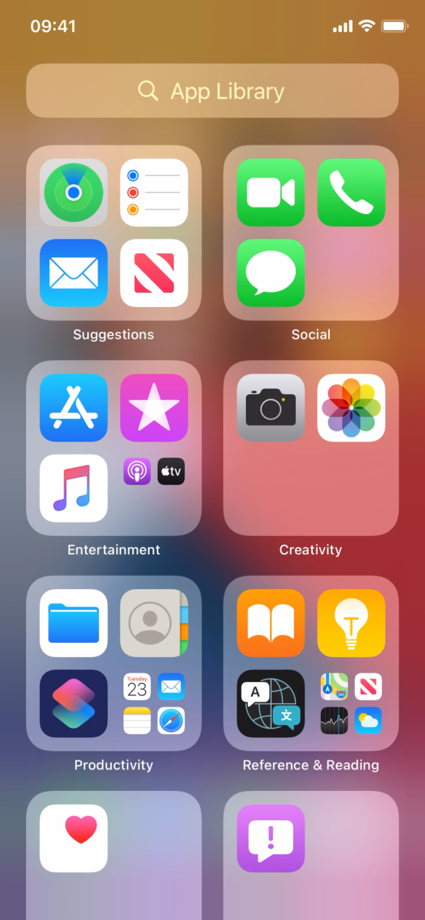 iOS 14 App library screenshot