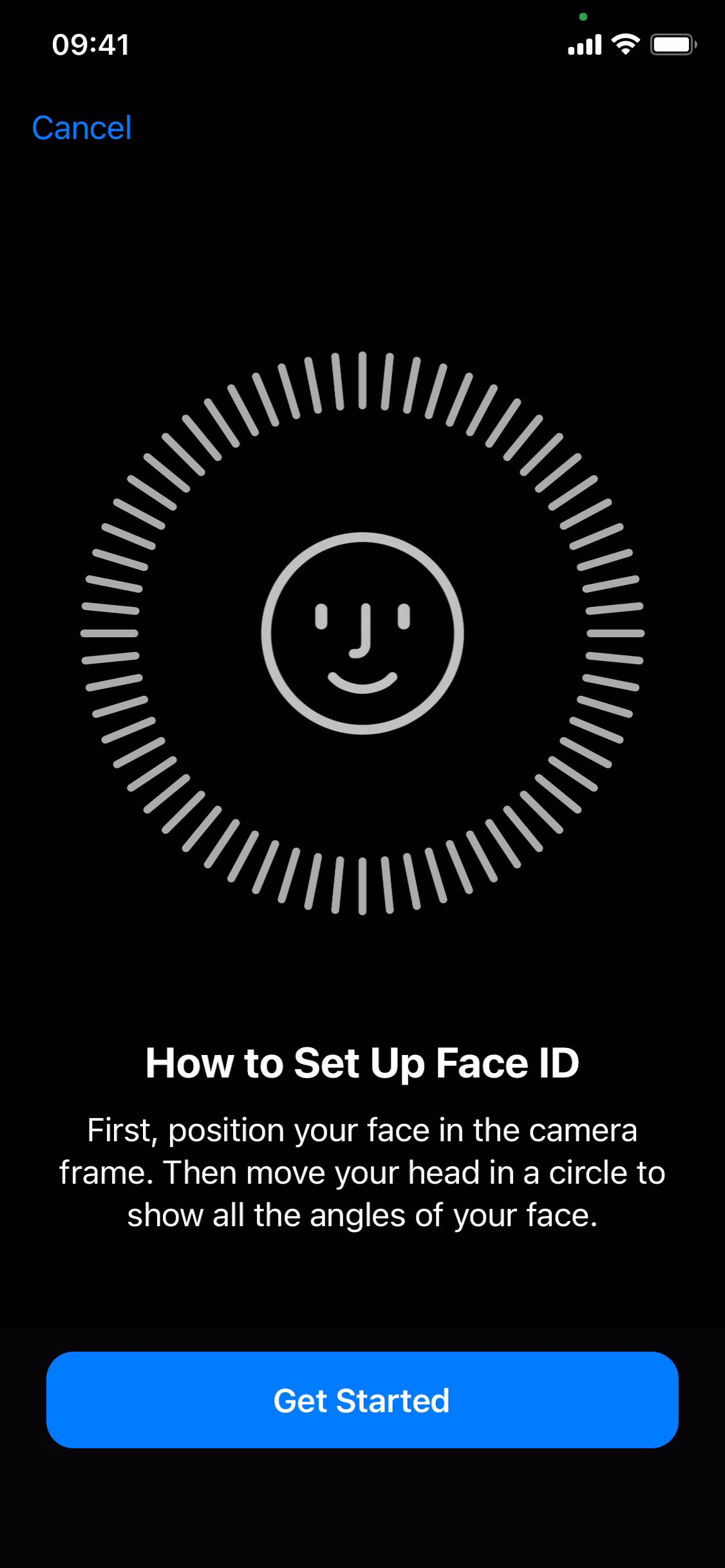 How to setup Face ID screenshot