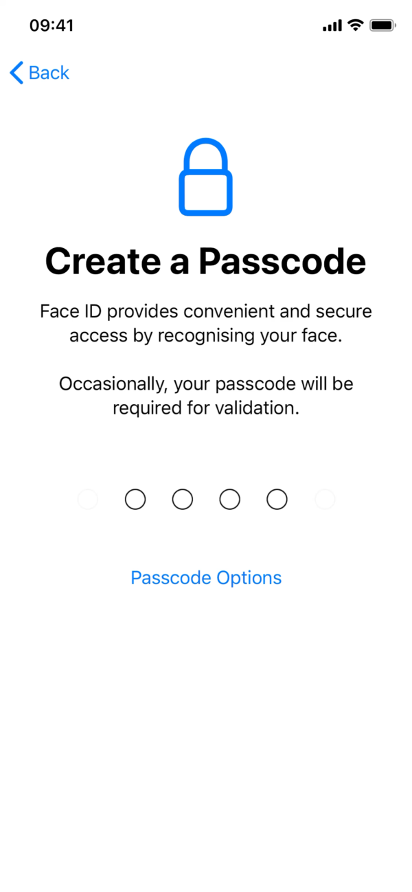 iOS 14 Create a passcode screenshot