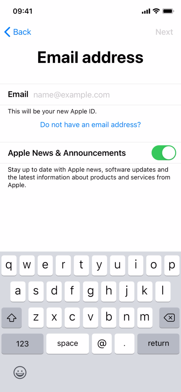 iOS 14 Email address screenshot