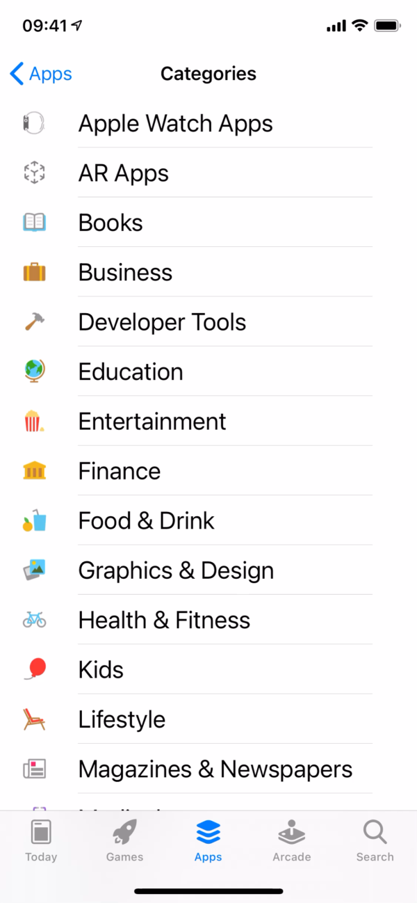 iOS 14 App Store / Categories screenshot