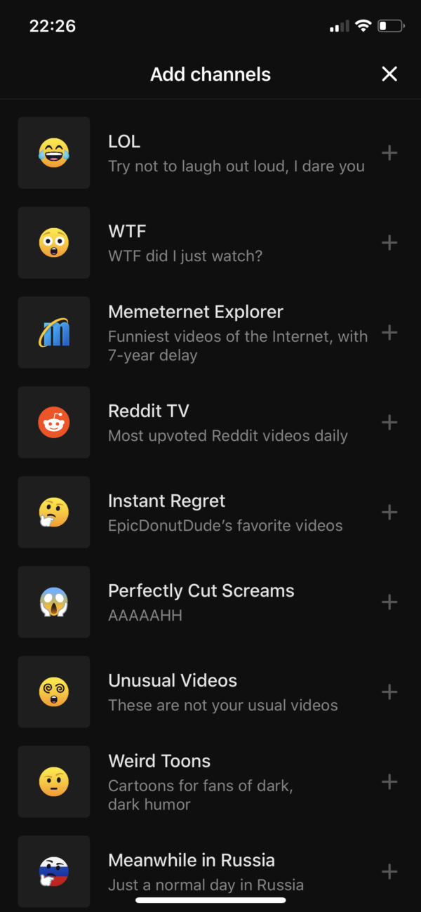 Neverthink Add channels screenshot