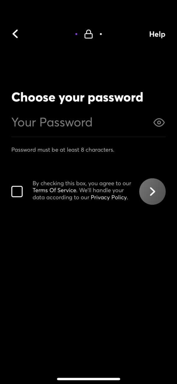 Quibi Choose your password screenshot