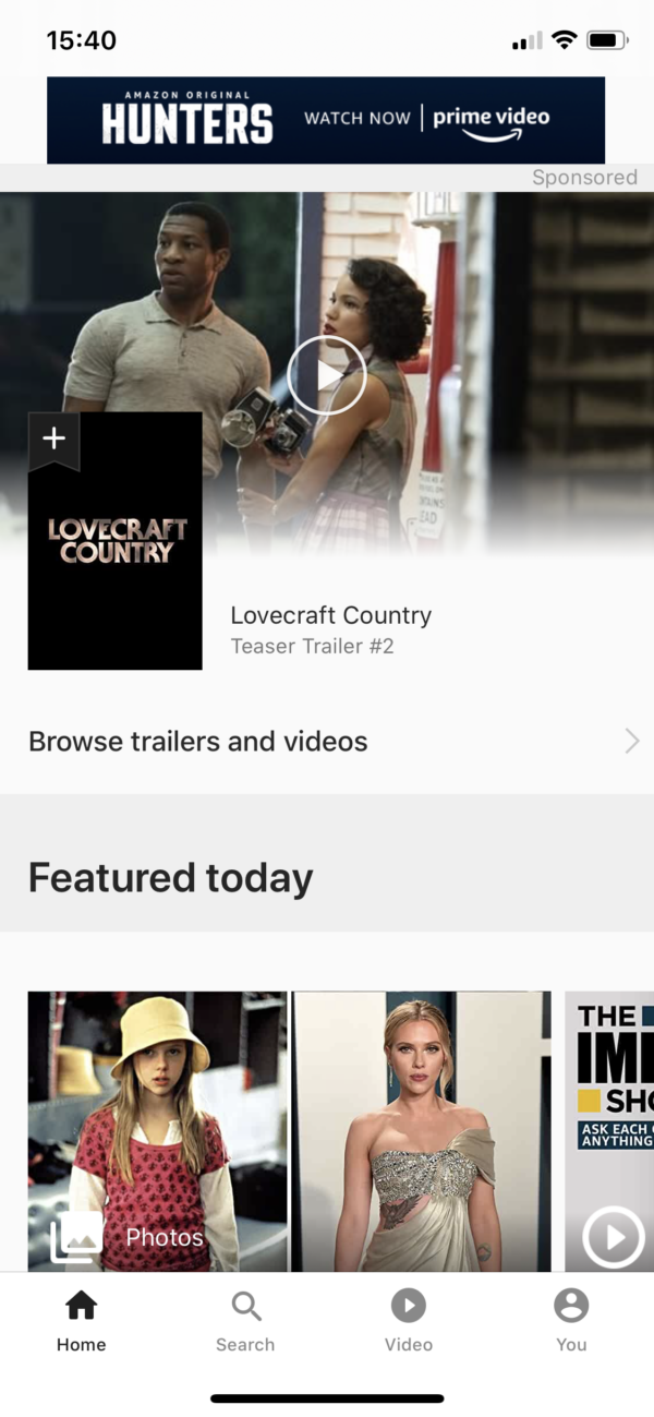 IMDB Home screen screenshot