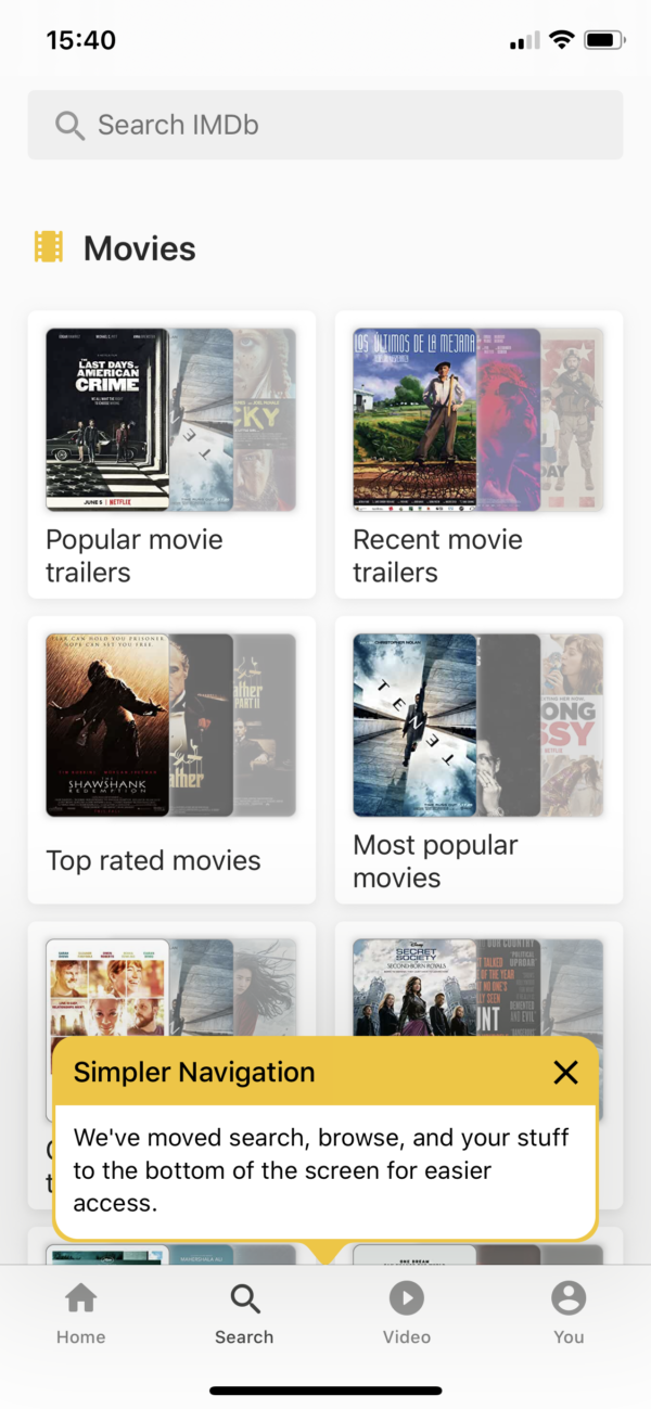 IMDB Simpler navigation screenshot