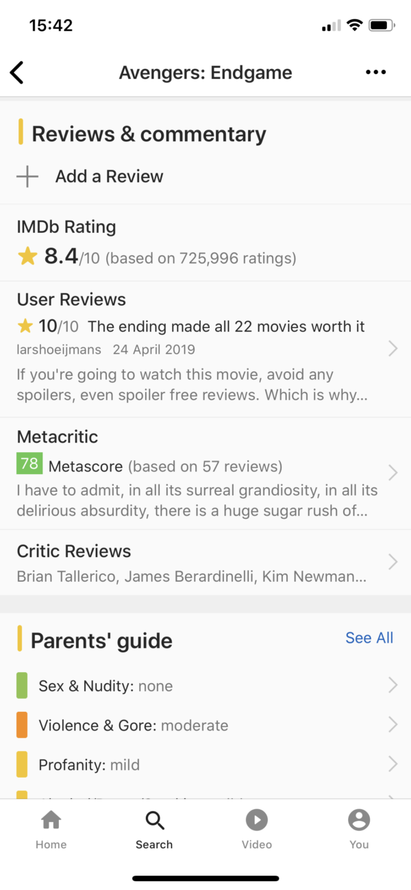 IMDB Reviews & rating screenshot