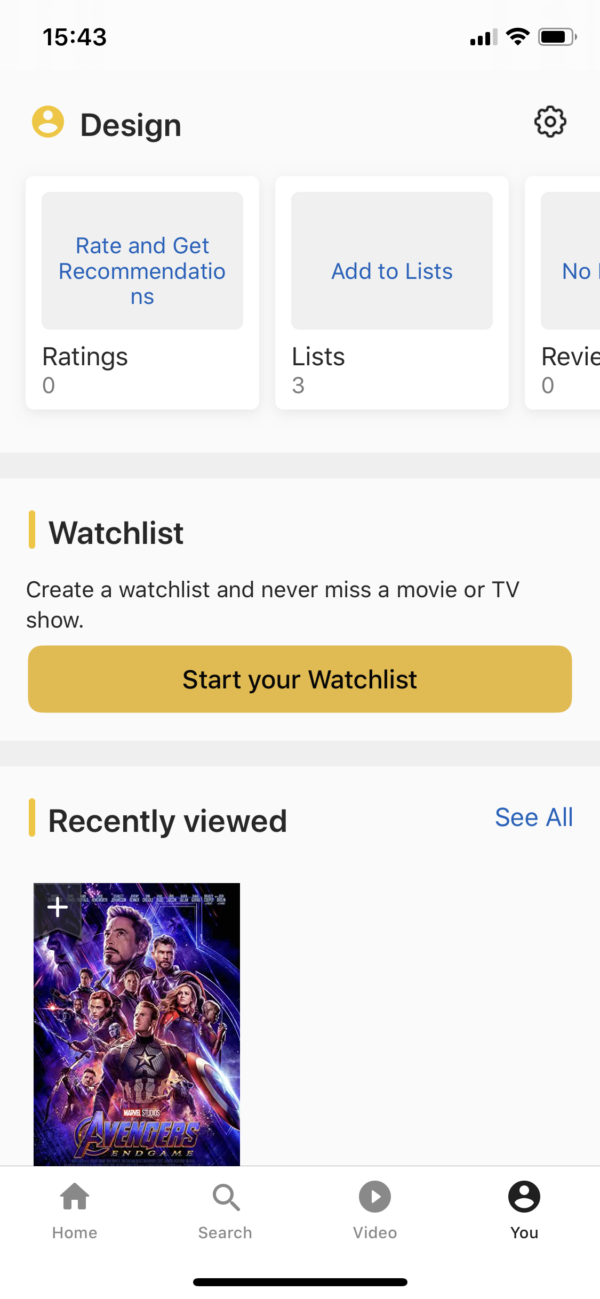 IMDB Account screenshot