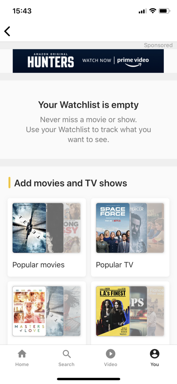 IMDB Empty watchlist screenshot