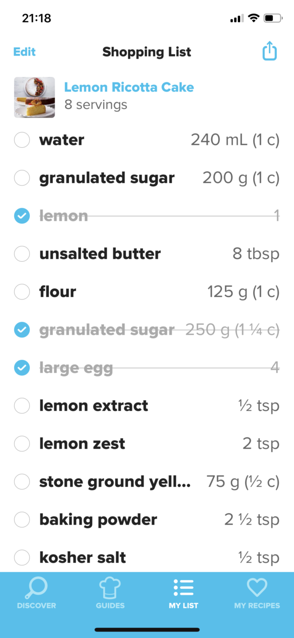 Tasty Shopping list screenshot